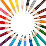 Colored pencils stacked in a circle Royalty Free Stock Image
