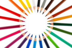 Colored pencils stacked in a circle Stock Image