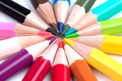Colored pencils stacked in a circle Royalty Free Stock Photography