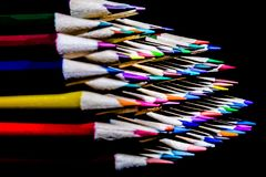 Colored Pencils in a Neat Stack Royalty Free Stock Photos