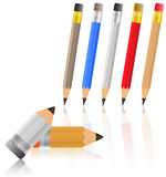 Colored pencils, stationery set on a white backgro Royalty Free Stock Photos
