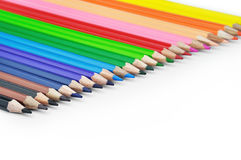 Colored Pencils in a Straight Lineup Royalty Free Stock Photos