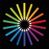 Colored Pencils Sun Flower Star Black Stock Photos