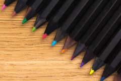 Colored pencils on the table Royalty Free Stock Photos