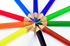 Colored pencils. Ten nice colored pencils on white background Stock Photos