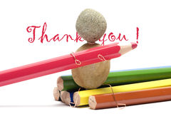 Colored pencils - thank you. Colored pencils and notice thank you Stock Image