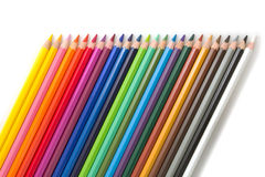 Colored pencils tilted Stock Photography