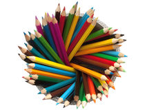Colored pencils top view. Isolated on a white background Royalty Free Stock Image