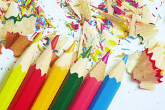 Colored pencils and trash Royalty Free Stock Photo