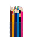 Colored pencils in tube Royalty Free Stock Images