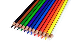 Colored pencils. Twelve nice colored pencils on white background Royalty Free Stock Photography