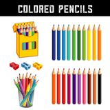 Colored Pencils, Twenty Rainbow Colors Stock Image