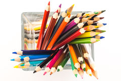 Colored pencils in a vase Stock Photo