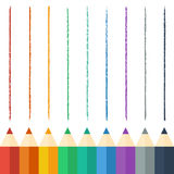 Colored pencils. Vector illustration. Background Stock Images