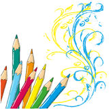Colored pencils vector illustration Doodle. A set of colored pencils on white background Stock Photo