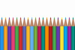 Colored pencils vector illustration isolated on white background. Color pencils isolated on white background, close up Vector Illustration