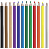 Colored Pencils. Vector set of colored pencils Royalty Free Stock Photo