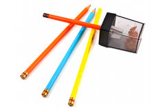 Colored Pencils w/Sharpener, isolated Royalty Free Stock Photo