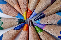 Colored pencils with a water drop Royalty Free Stock Photo