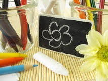 Colored pencils, wax crayons and chalk sticks Stock Photos