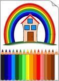 Colored pencils whit home over the rainbow. Colored pencils on white paper whit home ower the rainbow Stock Image
