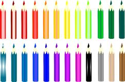 Colored pencils on a white background Stock Images