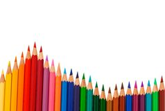 Colored pencils on white background Royalty Free Stock Photo