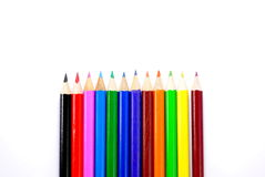 Colored pencils on white background. Set of twelve colored pencils on white background Stock Images