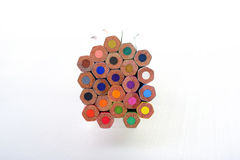 Colored pencils on white Royalty Free Stock Image