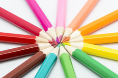 Colored pencils. On a white background Stock Photos