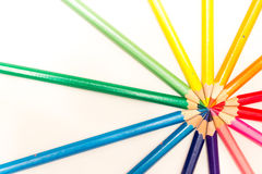 Colored pencils on a white background Royalty Free Stock Image