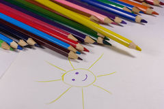 Colored pencils on white background Royalty Free Stock Photos