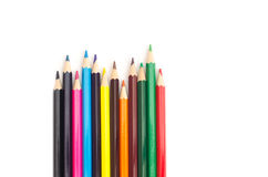 Colored pencils on white background Stock Image