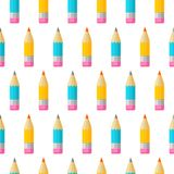 Colorful seamless patterns on the theme of education, school, au. Colored pencils on white background. Colorful seamless patterns on the theme of education stock illustration