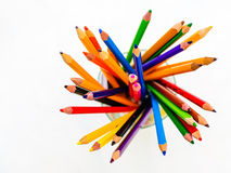Colored pencils white background Royalty Free Stock Images