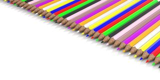 Colored pencils on white background. 3d illustration. School concept - Colored pencils on white background. 3d illustration Royalty Free Stock Photo