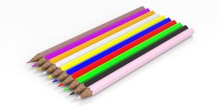 Colored pencils on white background. 3d illustration Royalty Free Stock Photo