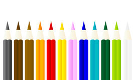 Colored pencils with white background stock image