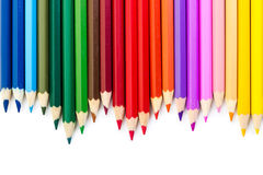 Colored pencils  on white background. Royalty Free Stock Photography