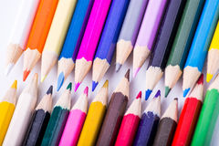 Colored pencils on a white background Royalty Free Stock Photos