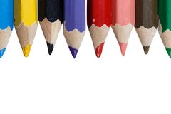 Colored pencils on white background macro stock photo