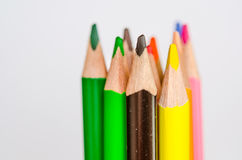 Colored pencils on white background. Set of colored pencils isolated against the white background. Close up Stock Images