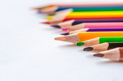 Colored pencils on white background. Set of colored pencils isolated against the white background. Close up Royalty Free Stock Image