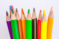 Colored pencils on white background. Set of colored pencils isolated against the white background. Close up Stock Photo
