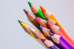 Colored pencils on white background. Set of colored pencils isolated against the white background. Close up Stock Image