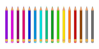 Colored pencils. On white background. Vector illustration Stock Photography