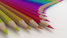 Colored pencils on a white paper 3d rendering Royalty Free Stock Images