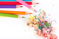 Colored pencils and wood chips Royalty Free Stock Photo