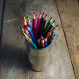 Colored pencils on wood Royalty Free Stock Photography