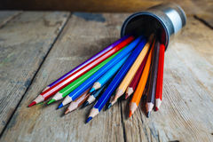 Colored pencils on wood Stock Photography